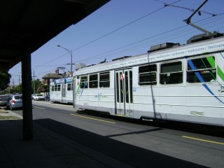 Botched photo of trams passing