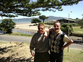 Grandad and Tony at Raumati Beach