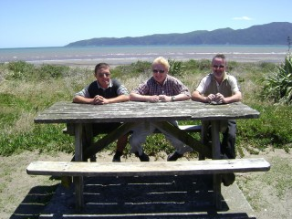 Tony, Jeff, and Grandad at Paraparaumu Beach