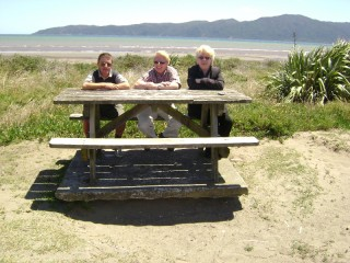 Tony, Jeff, and I at Paraparaumu Beach