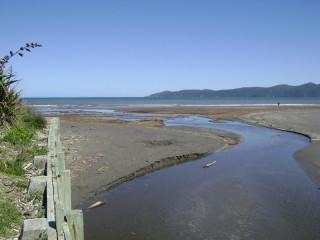 Wharemauku Stream's mouth in Raumati Beach