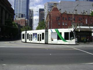 D2 class tram rounding corner