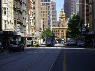 Z3, two B2s, and Flinders Street Station