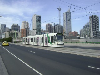 D2 tram on bridge