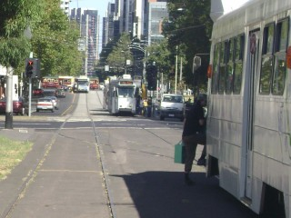 Trams along northern William Street
