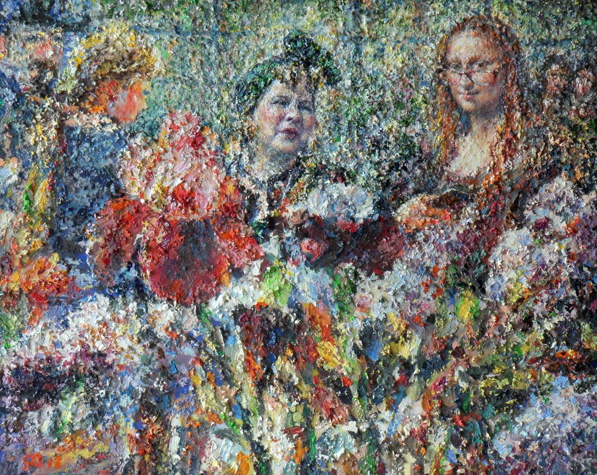 На выставке цветов 2018 х.м. 40х50 -- 30 000 руб.