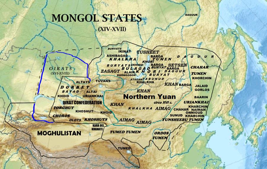 Монгольские государства в 14-17 вв. Сев. Юань, Ойратское ханство. Могулистан.jpg