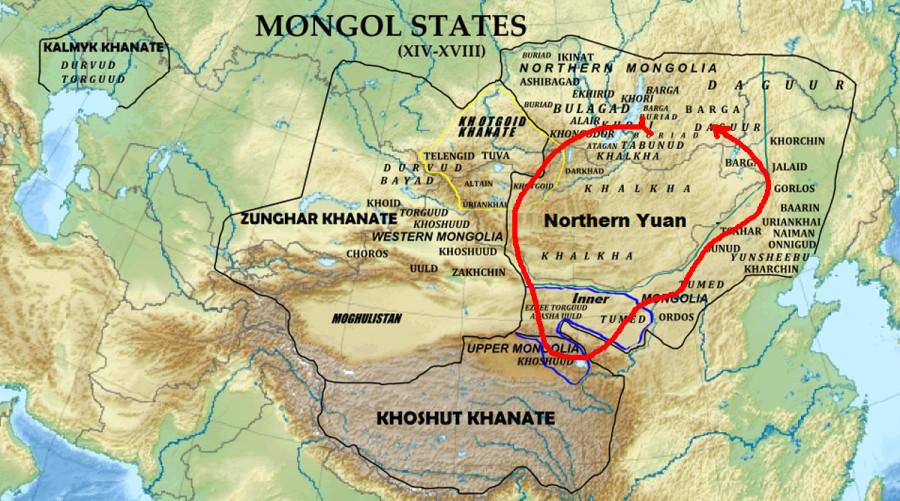 Монгольские государства в XVII веке Монгольский каганат, Джунгарское ханство, Хошутское ханство, Хотогойтское ханство, Калмыцкое ханство и Могулистан…