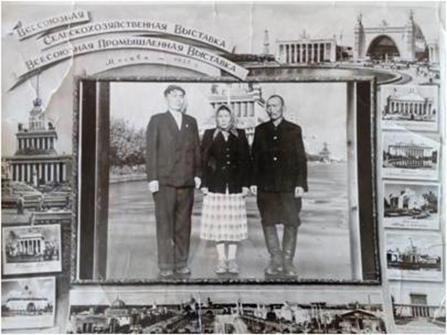 К-21 Дашицыренов Цынге, Ширапова Цындыма, Цыбенов Жалсан 1957 г. ВДНХ.jpg