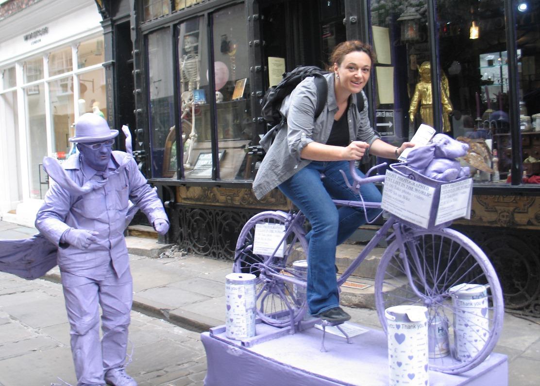 Sara on purple bike