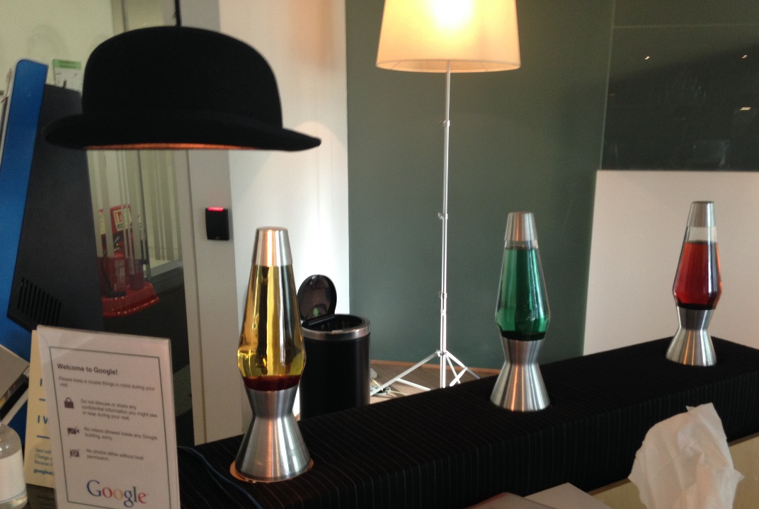 Hallway - hat lamp and lava lamps