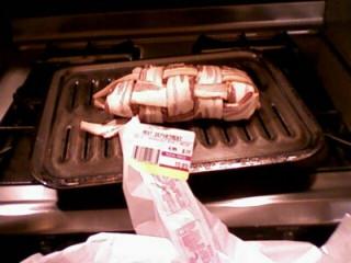 a woven log of bacon