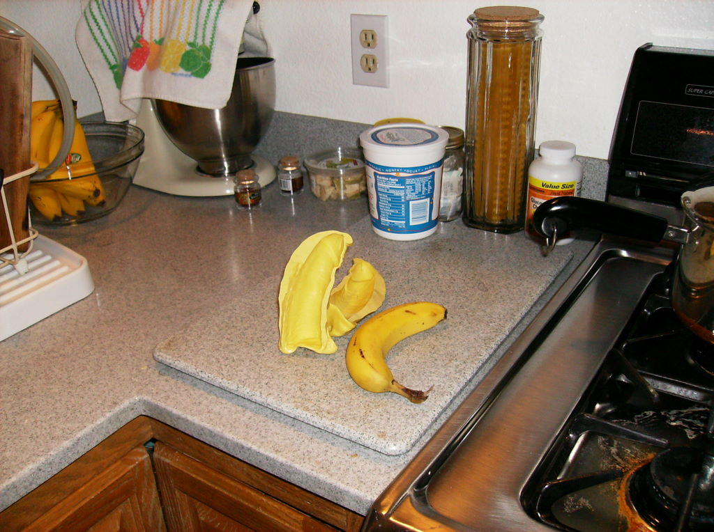 Both halves of the mold, on the kitchen counter next to a banana. Apparently my cousin is circumcised.