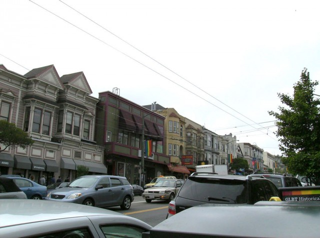 Looking across the street up Castro