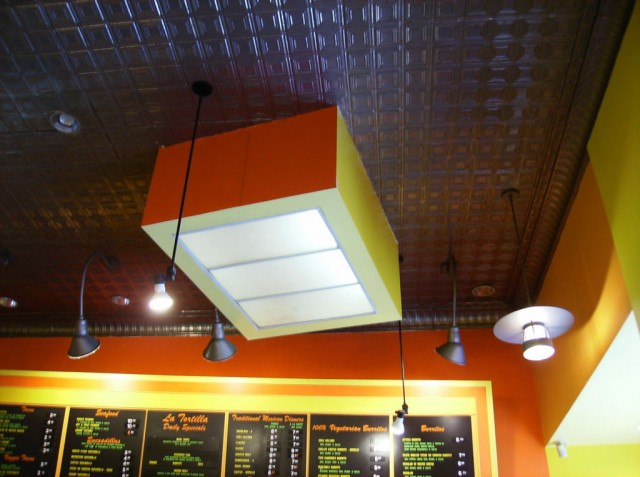Artistic shot of taqueria ceiling