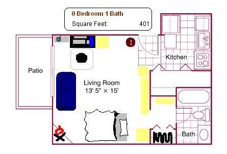 Floor plan of Azz's apartment.