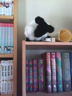 Crocheted dreamsheep with white wool and black feet and face on top of a bookshelf.