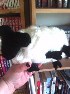 Another view of Azz holding crocheted dreamsheep.