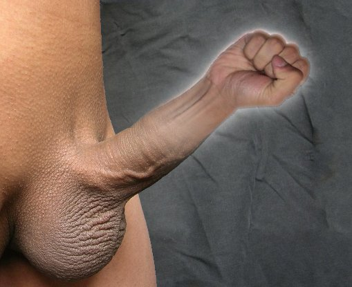Nude male body with completely shaved pubic hair and erect penis. Instead of the upper portion of the shaft and head, a clenched fist has been substituted using The GIMP. The whole penis assemblage glows slightly.