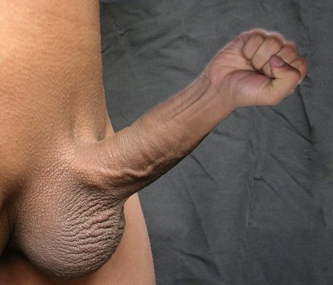 Nude male body with completely shaved pubic hair and erect penis. Instead of the upper portion of the shaft and head, a clenched fist has been substituted using The GIMP. Without the glow, the fist is crisper and slightly more menacing, which does not detract from the overall hilarity of the concept.