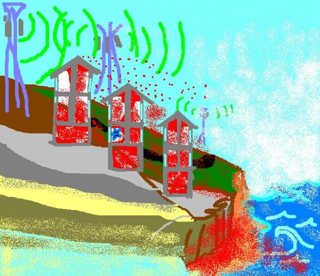 Three concrete bunkers of buildings with their bottom storeys set into the side of a descending hill. At the top of the hill, cellphone towers. At the bottom of the hill, ocean. Cellphone signal shadows shown inside and behind the buildings, and below the cliff, on the ocean/downhill side of the buildings. An unhappy blue star representing Azz is in the second (ground level) floor of the middle building on the uphill side, with not much signal at all. Sole window: uphill side. Concrete with rebar. Fun times.
