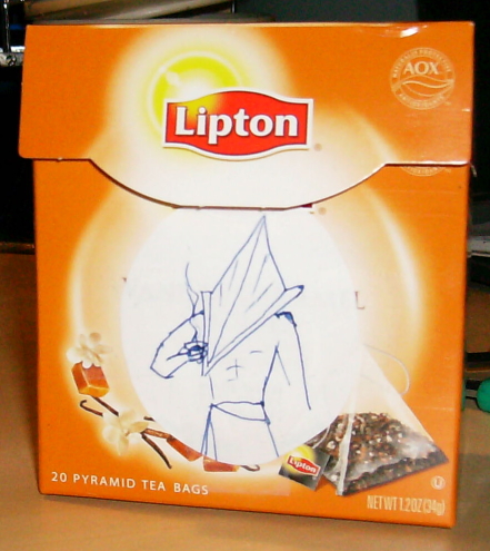Lipton Pyramid tea box with image of Pyramid Head pastede on