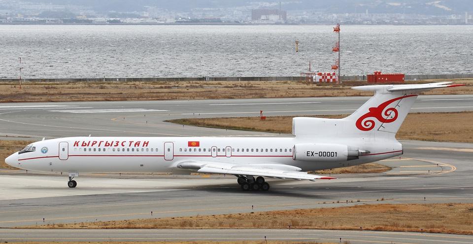 07 Президентский самолет Ту-154 EX00001 с А.Атамбаевым на борту вылетает в Бишкек из аэропорта Kansai в Осаке