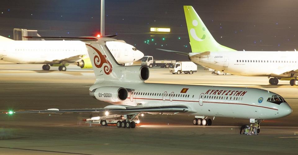 01 Прибытие президента Кыргызстана А.Атамбаева в аэропорт Haneda в Токио, самолет Ту-154 EX00001