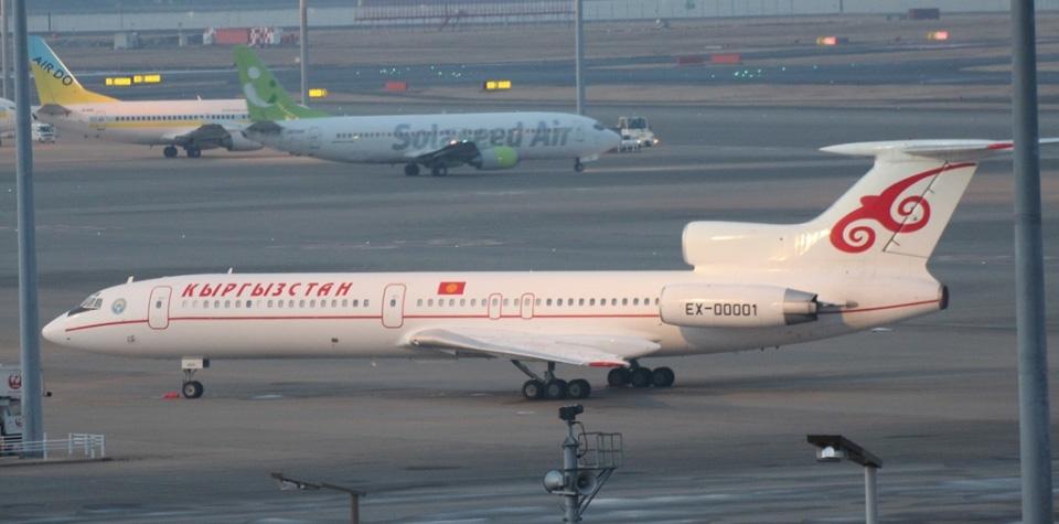 05 Президентский самолет Ту-154 EX00001 на стоянке в аэропорту Haneda в Токио