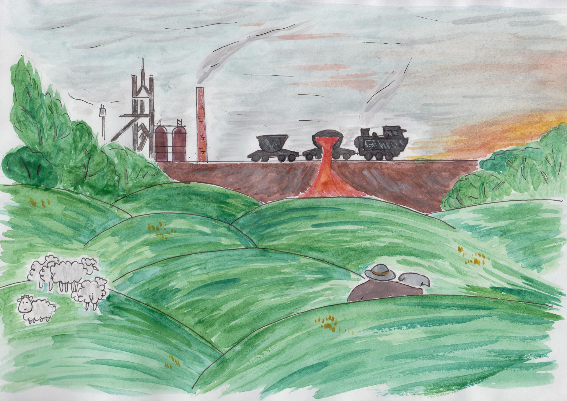 Старик - пастух со своим псом наблюдают за работой металлургического завода в Южном Йоркшире
