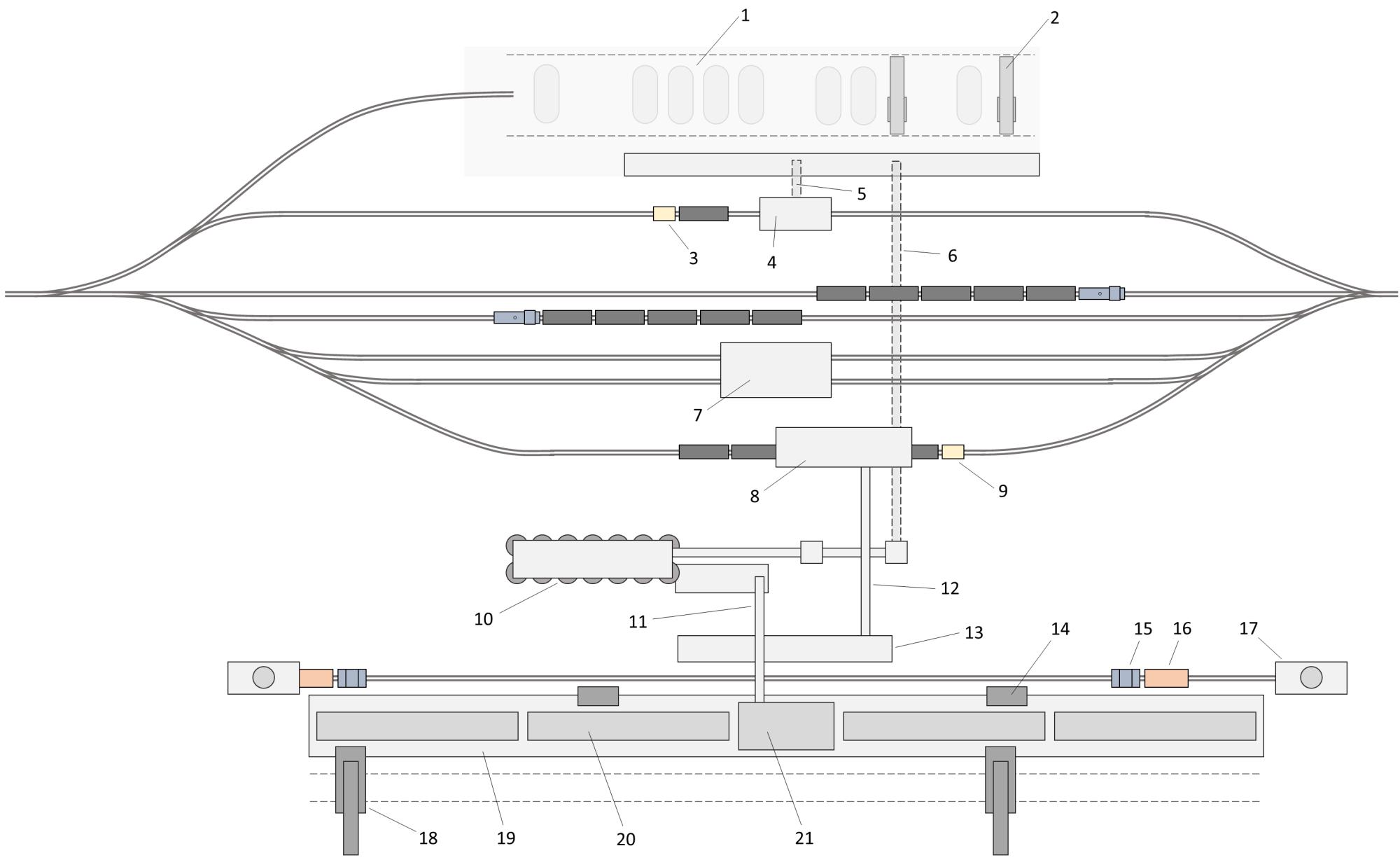 Условная схема Московского коксогазового завода: 1 - склад угля, 2 - мостовые грейферные краны, з - электрический вагонотолкатель, 4 - вагоноопрокидыватель, 5 - подземный конвейер доставки углей на склад, 6 - подземный конвейер доставки углей в закрытый склад (силосы), 7 - бункер разгрузки угля, 8 - башня сортировки и погрузки кокса в вагоны, 9 - электрический вагонотолкатель, 10 - закрытый склад углей (силосы), 11 - конвейер подачи шихты в угольную башню, 12 - конвейер подачи кокса на погрузку, 13 - рампа выгрузки кокса из коксотушильного вагона, 14 - двересъемная машина, 15 - коксотушильный электровоз, 16 - коксотушильный вагон, 17 - кокостушильная башня, 18 - коксовыталкиватель, 19 - коксовый цех, 20 - коксовая батарея, 21 - угольная башня