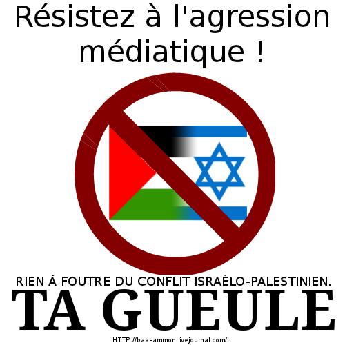 Résistez à l'agression médiatique, rien à foutre du conflit Israélo-Palestinien. Ta gueule !