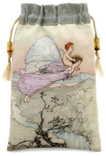 Fairy tale satin and pure silk tarot bag or drawstring pouch. Arthur Rackham illustration.