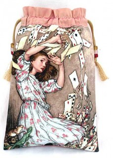 Alice in Wonderland tarot bag, drawstring pouch in apricot pink silk.