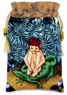 Wild Elf Boy silk fairytale drawstring pouch, tarot bag