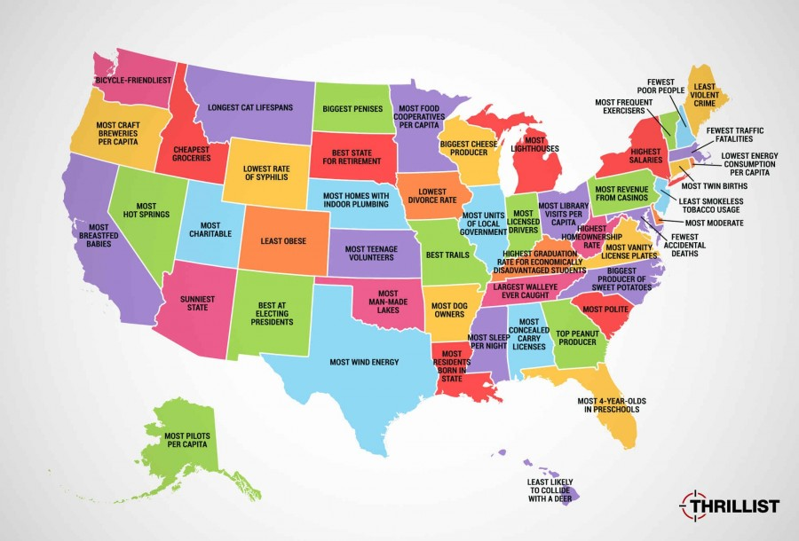 Самое лучшее в каждом из штатов