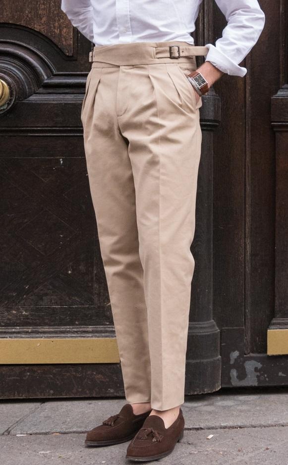 Beige Gurkha Double Pleated Trousers