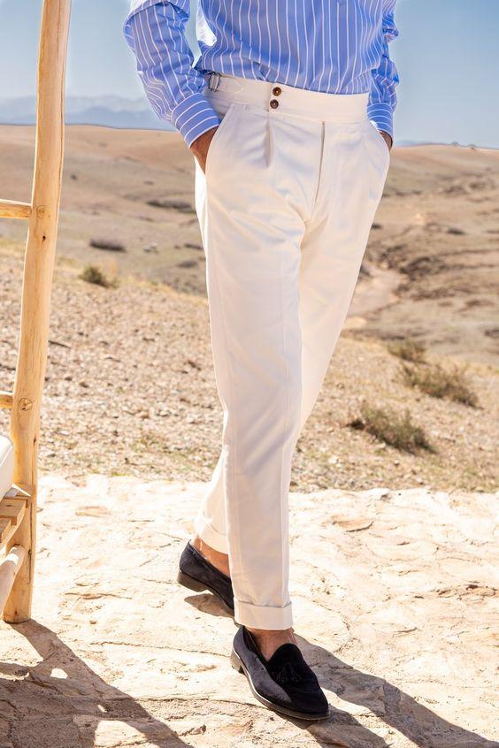 Stylish Sartorial White Cotton Gurkha Pants