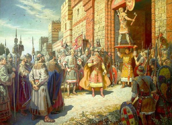 Олег прибивает щит свой к вратам Царьграда