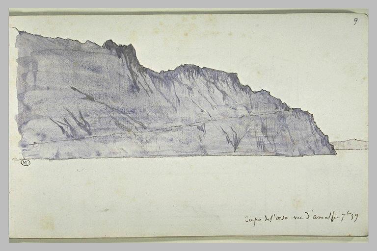 D'Amalfi, vue de Capo del Orso (рисунок XIX века, DELAUNAY Elie)