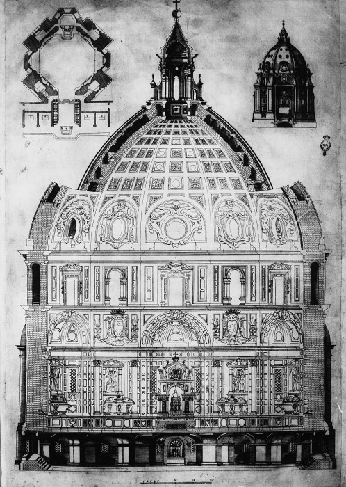 Section, plan and elevation of Cappella de' Principi (Medici model of 1604-1605) by Nigetti, Matteo