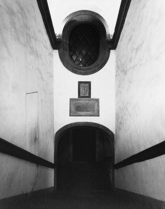 Interior view, stairway from upper chapels to crypt