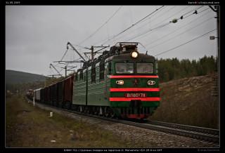 ВЛ80т-711 с грузовым поездом на перегоне ст. Магнетиты—б/п 25-й км ОКТ