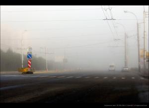 туманное утро 25.08.2012, на перекрёстке кольский—беринга