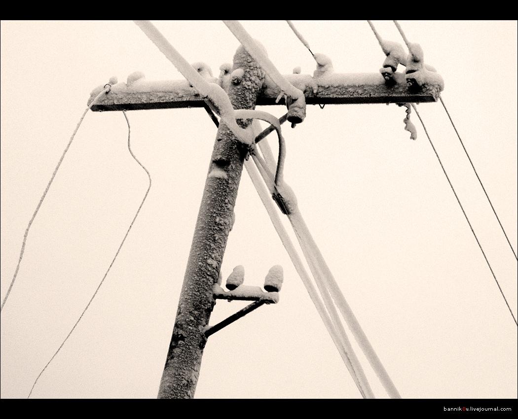 Столб, провода, иней