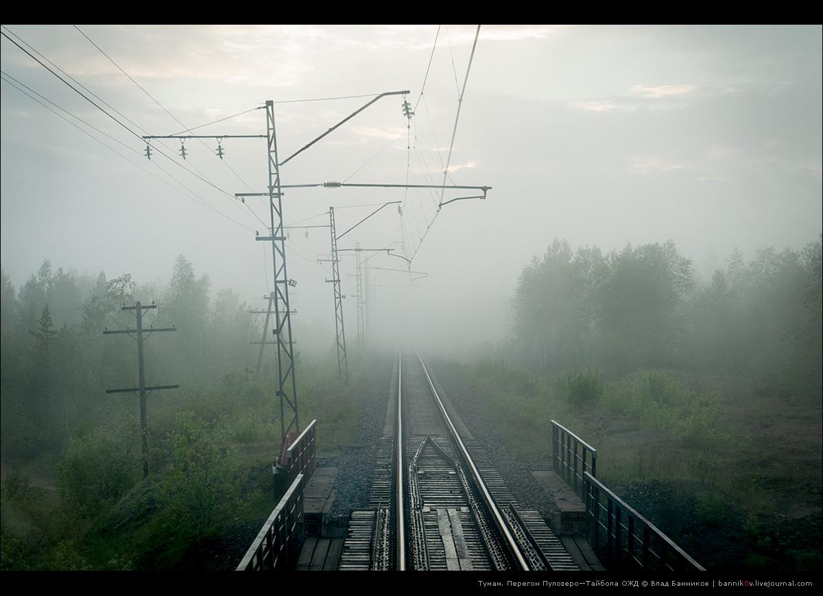Туман на перегоне Пулозеро—Тайбола 16-го июня 2014 года