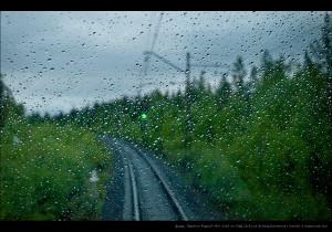 Дождь. Перегон Рудный—б/п 1303 км ОЖД 20.06.14