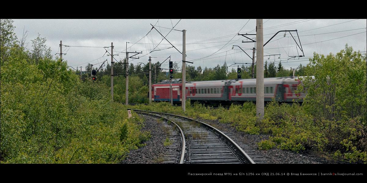 Пассажирский поезд №91 на б/п 1256 км ОЖД 21.06.14