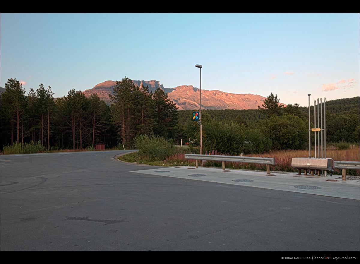 Закат на горах в Skibotn