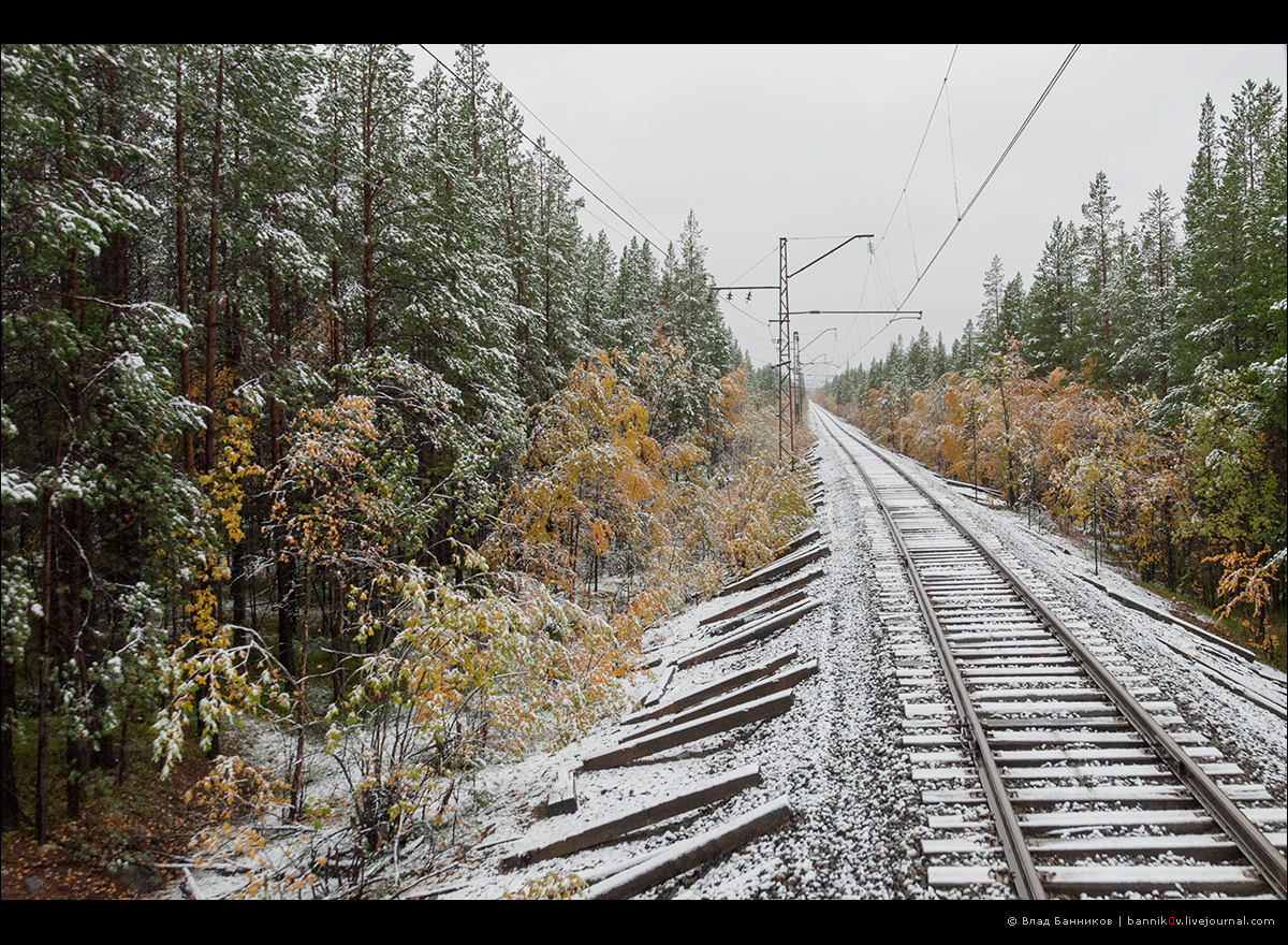 Оленегорск—Мончегорск: первый снег (ещё больше)